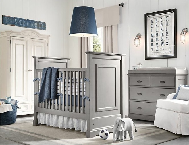 Gray blue boys nursery design
