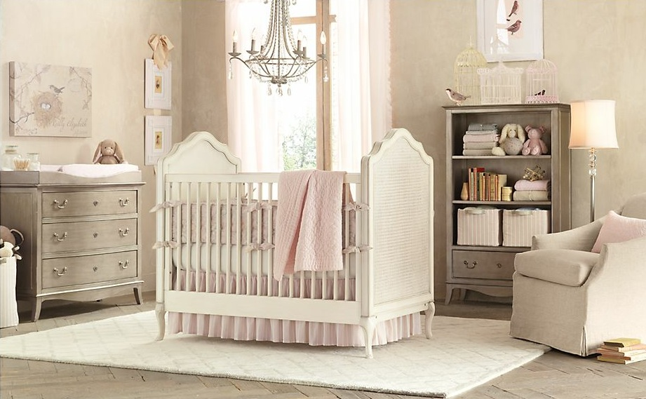 Gray pink baby girls room Interior Design Ideas.