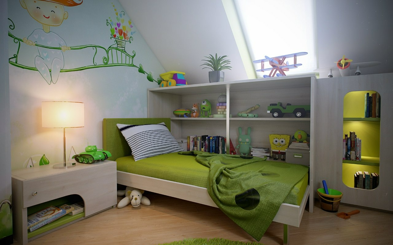 Green white boys room wall mural Interior Design Ideas