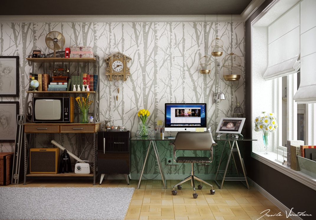 Home office tree wallpaper pattern interior design ideas - Small work space decor ...