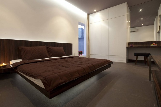 Modern white brown bedroom