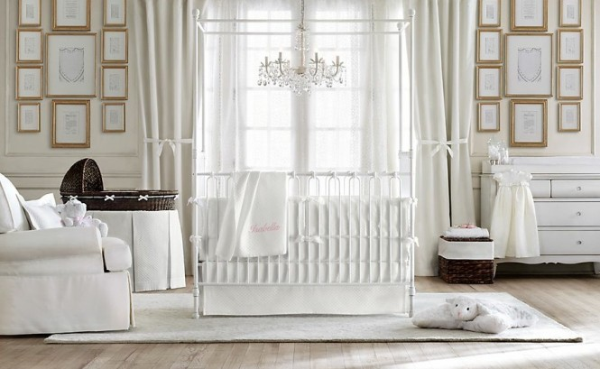 Four-poster cribs create a regal room for your little prince or princess.