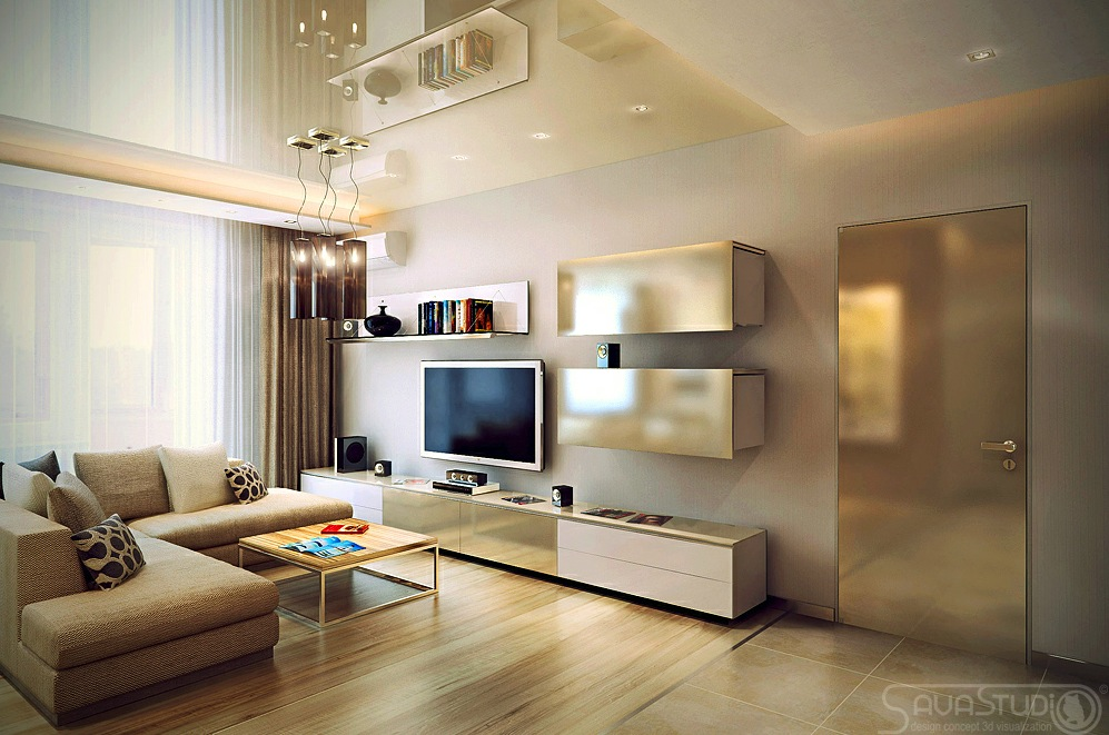 Neutral living room l shaped sofa interior design ideas for L shaped apartment design