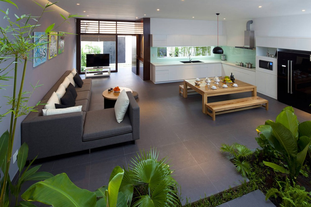 A fresh home with open living area internal courtyard for Modern open plan houses