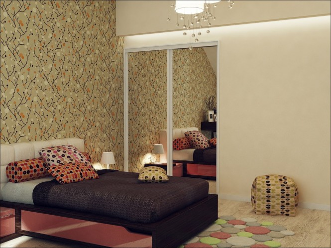 Red black beige bedroom scheme