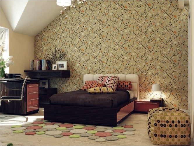 Red black beige bedroom wallpaper
