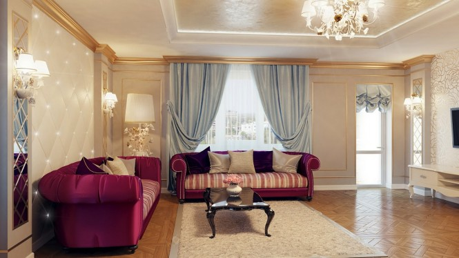Regal purple blue living room decor