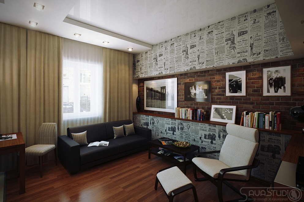 Retro poster wallpaper lounge feature wall interior for Feature wall interior design
