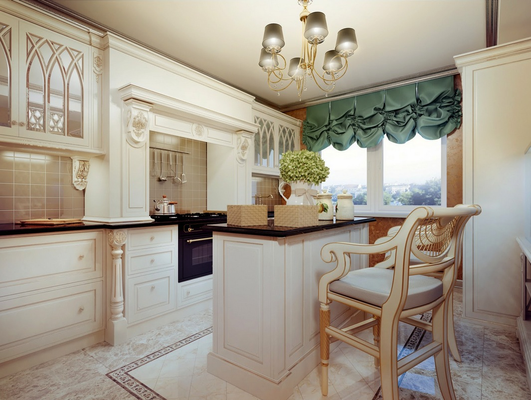 Traditional cream kitchen interior design ideas for Cocinas bonitas