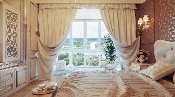 Traditional neutral curtain swags