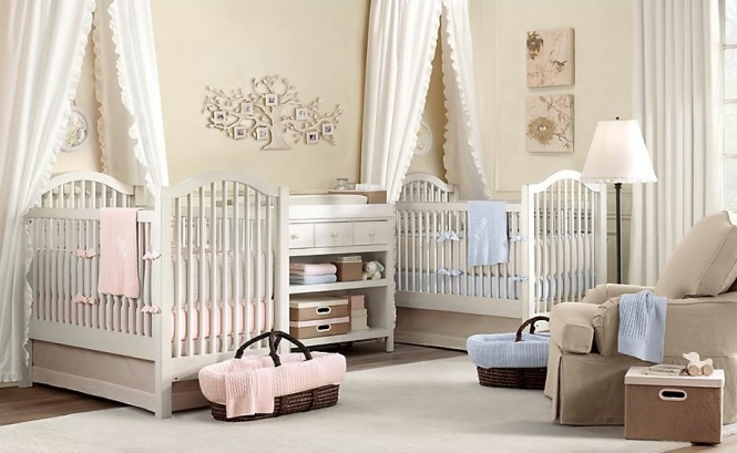 Twin biy girl nursery decor ideas