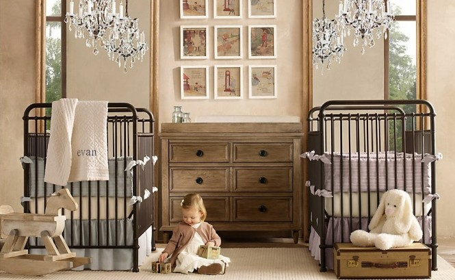 Twin boy girl baby room