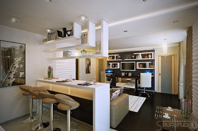 White open plan kitchen lounge