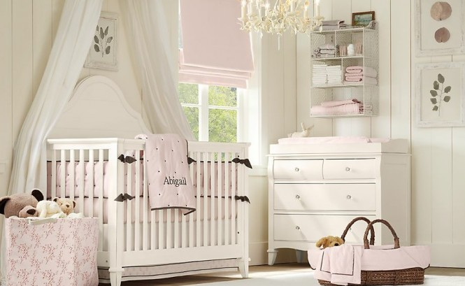 White baby pink baby room