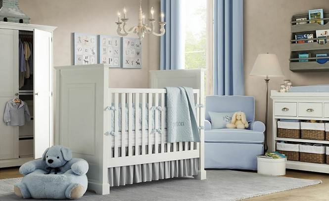 White blue baby boys room