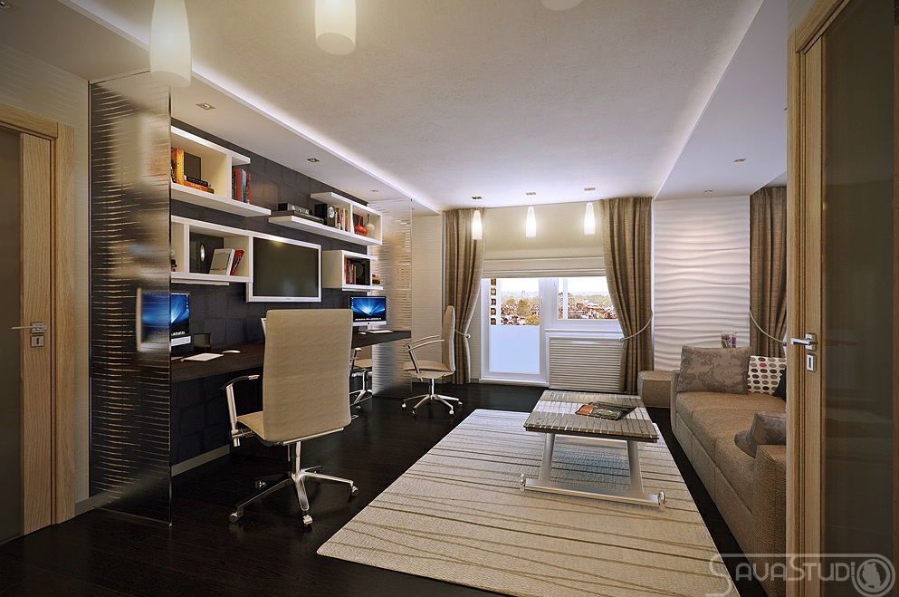 White brown home office interior design ideas Modern home office ideas