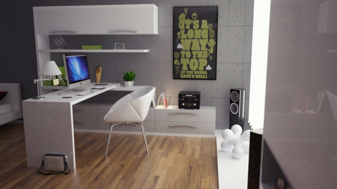 Green gray white office decor interior design ideas - Home office design ideas pictures ...
