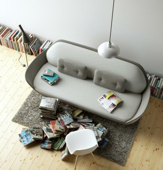 messy reading corner