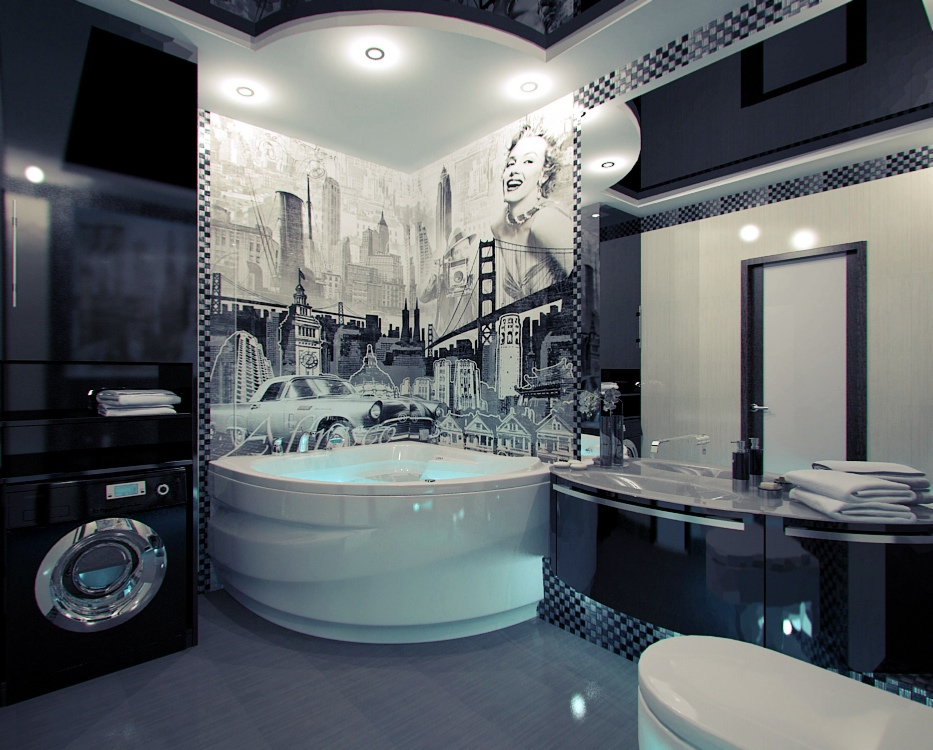 American Themed Mural Bathroom Interior Design Ideas