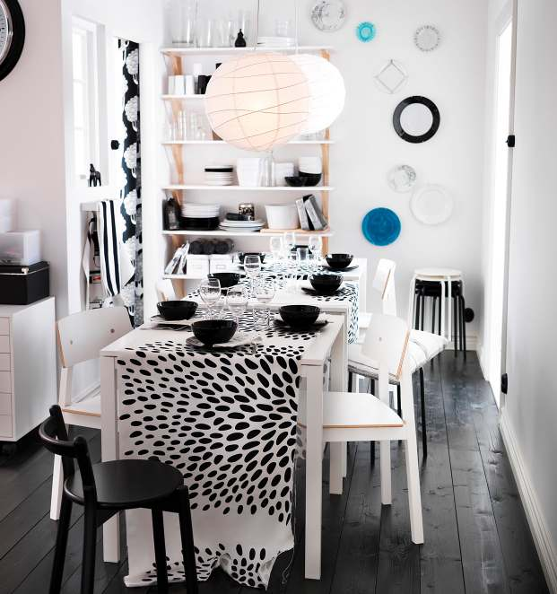 Black white dining room interior design ideas for White dining room decor