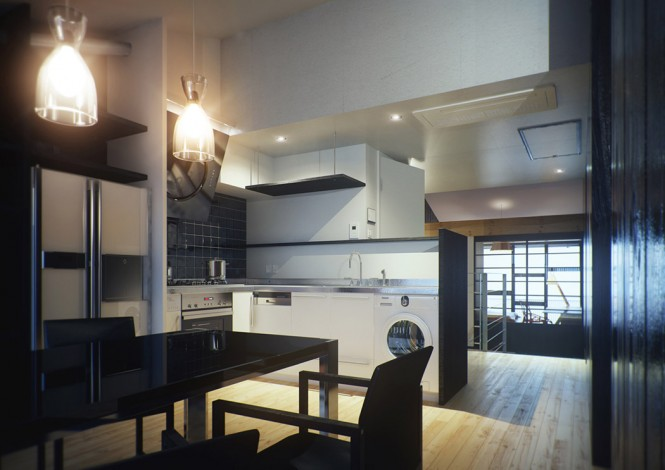 The modern sheen of the new style kitchen also houses a state of the art American style fridge freezer along with a host of other mod cons. The adjacent dining suite disappears into the darker walls in its glossy black finish, adding dinnertime drama and intrigue.