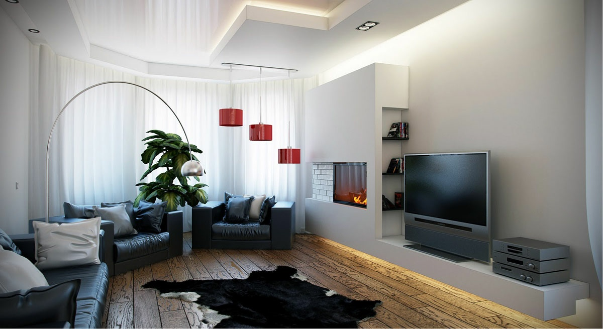 Black white red living room interior design ideas for Black red white living room ideas