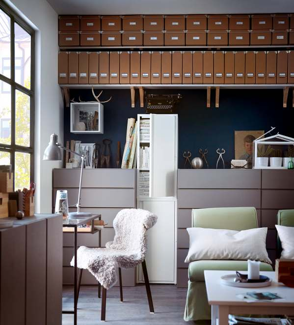 Blue brown white home office