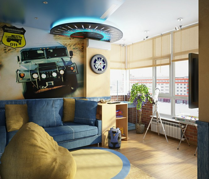 This car themed room exudes action in a extra new way too, with a high speed race or chase screen depicted in a huge wall mural, beneath an exciting lighting feature made to look like a giant scale speedometer. Hubcap art decorates the walls in this motor palace, a touch of exposed brick hints at a garage atmosphere, and the look is finished off with durable denim textiles, as worn by car mechanics, in an informal seating area.