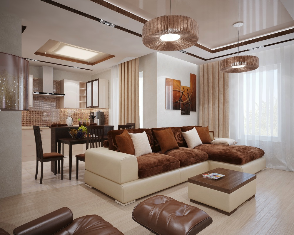 Brown cream living room interior design ideas for Interior design ideas kitchen living room