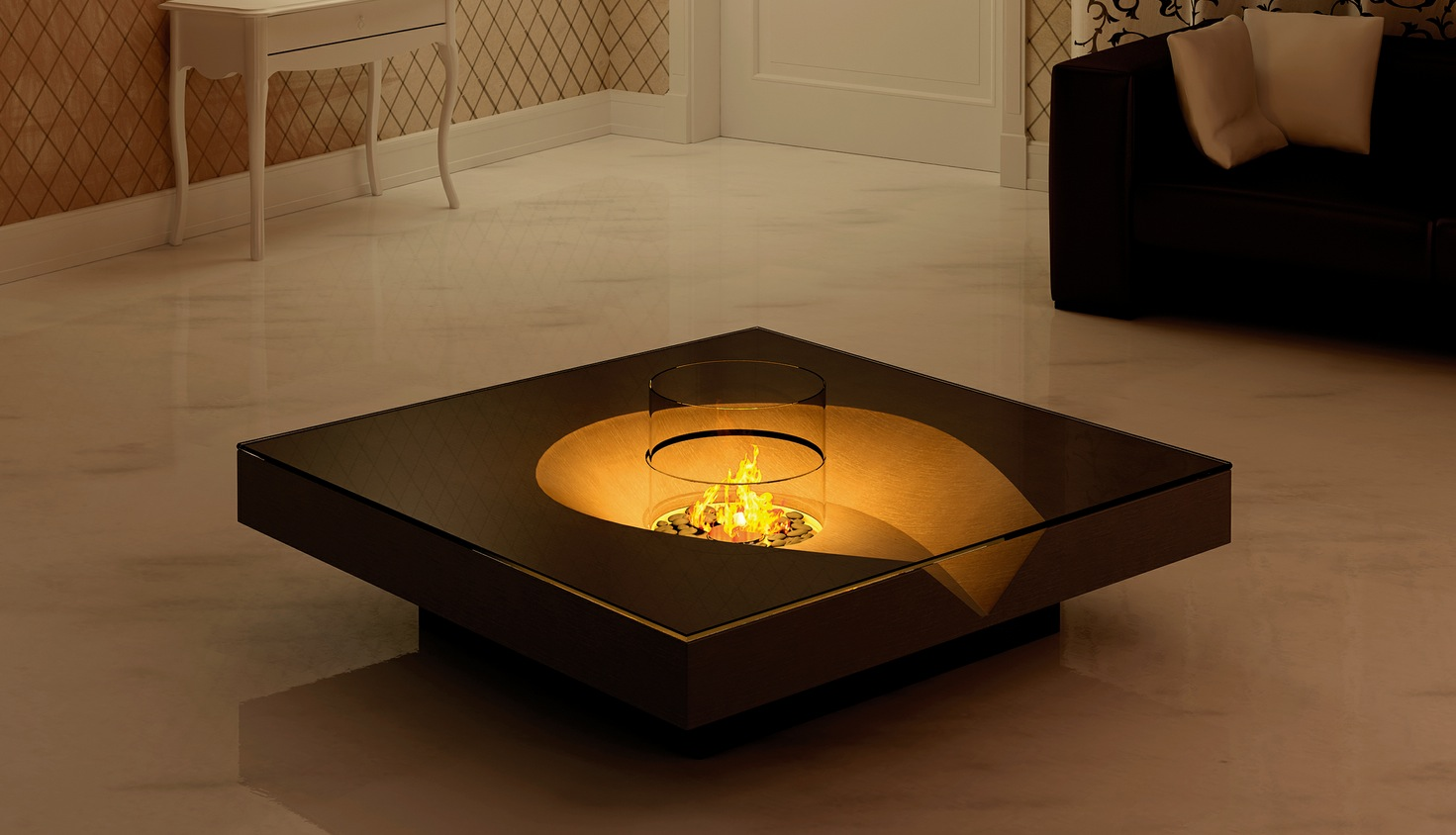 Open air inspired fireplaces Contemporary coffee tables design