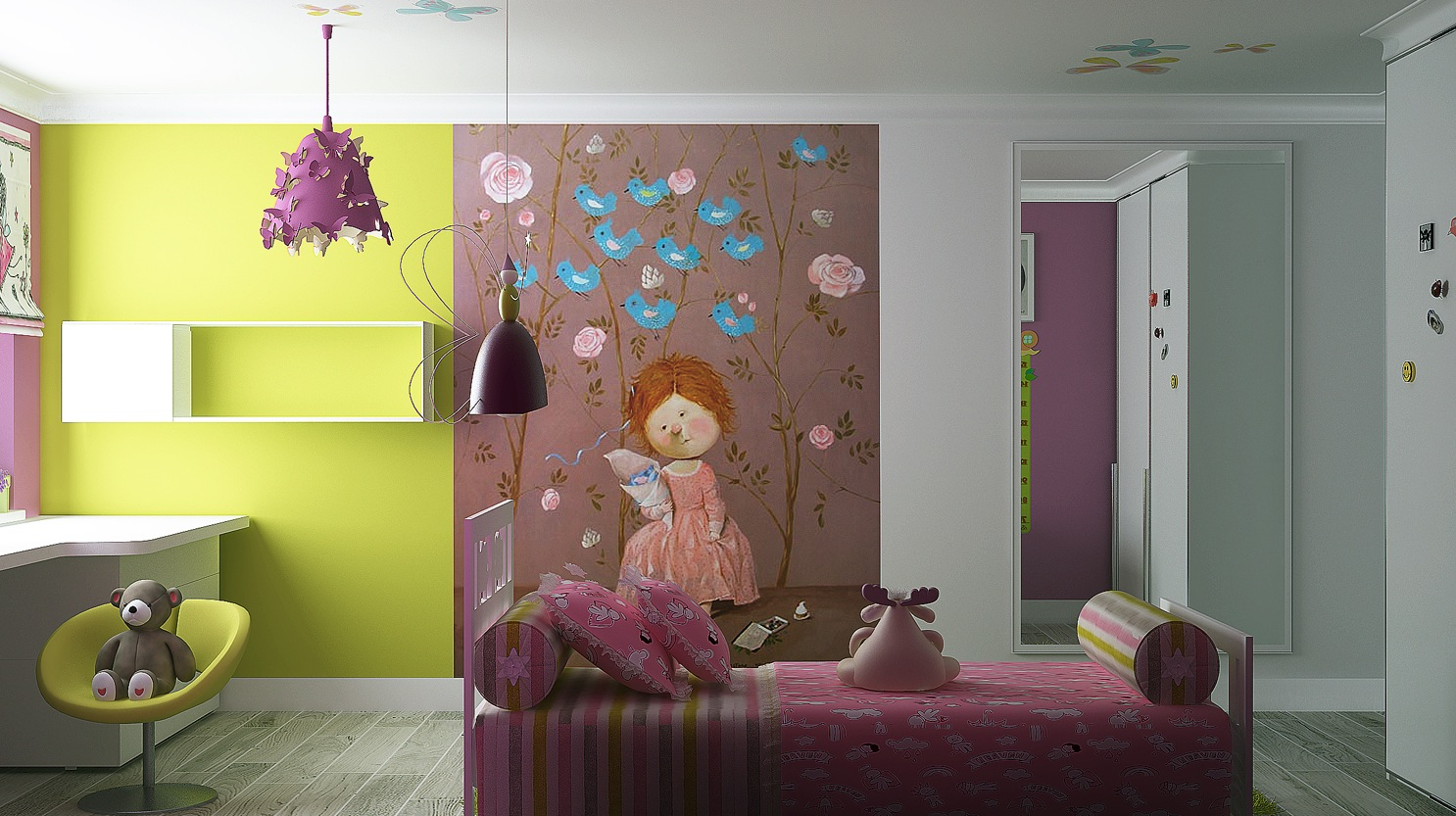 via kate chelyustnikovaa character themed wall mural adds quirkiness to plain paintwork gaining maximum impact