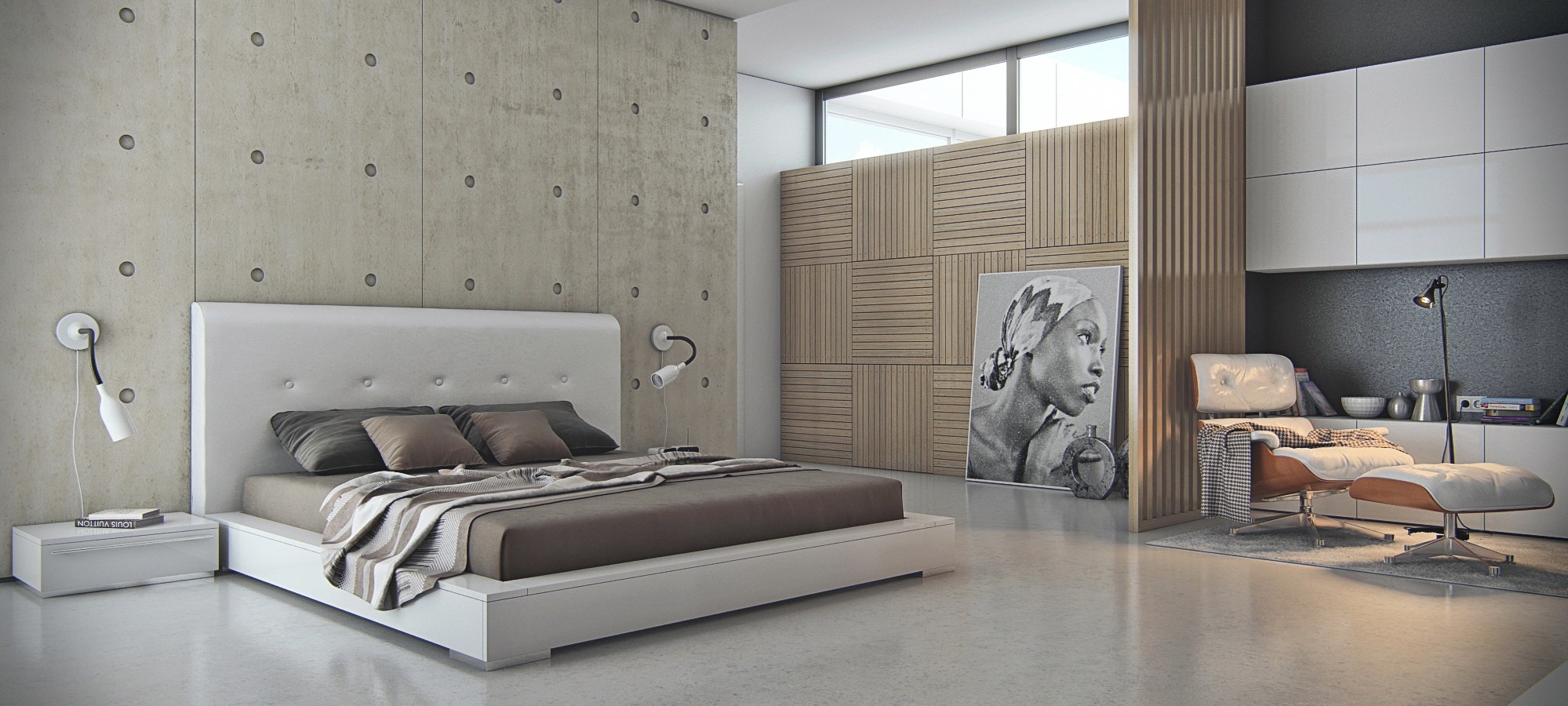 Concrete Bedroom Featre Wall