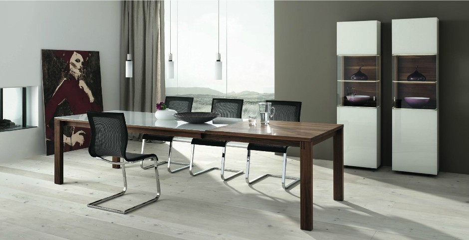 Wooden furniture in a contemporary setting - Dining room showcase designs ...