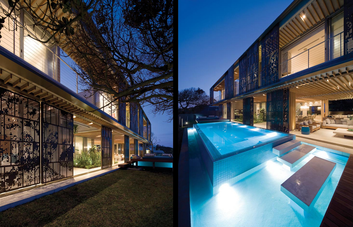 Contemporary cocoon house for Modern swimming pool