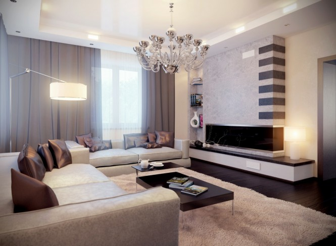 By AndreyMakThis neutral scheme receives a hit of glamour from a large chandelier overhead and shiny bronze scatter cushions around the perimeter.