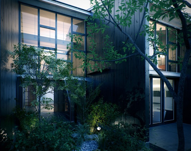 At the front of the home, a towering glass façade overlooks a zen-like courtyard, on the approach to a minimalist entranceway flanked in wood. Slender trees soften the lines of the modernistic architecture and encourage a more naturalistic feel that in turn leads into the pure materials of the interior.