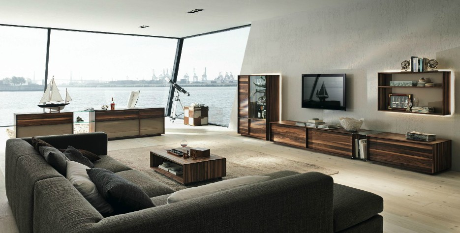 wooden furniture in a contemporary setting - Interior Design Living Room 2012