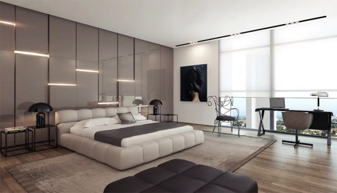 Gray gloss panels provide a soothing backdrop in this sleep space, and part to reveal soft mood lighting here and there–just enough to light a cozy evening.
