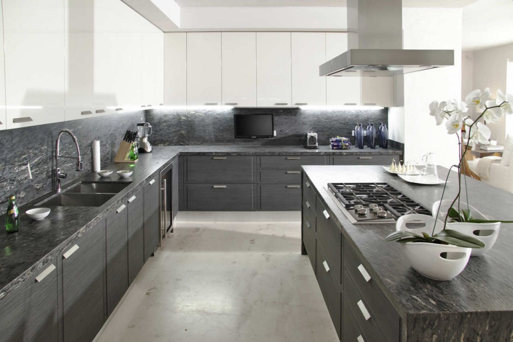 Gray white kitchen interior design ideas for Modern white and gray kitchen