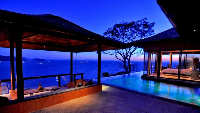 Infinity pool surrounding bedroom