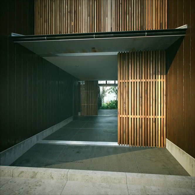The outside of the building displays the same dark stained wood that we see on the inside of this home, taking the styling seamlessly from one side to the other without jarring the senses.
