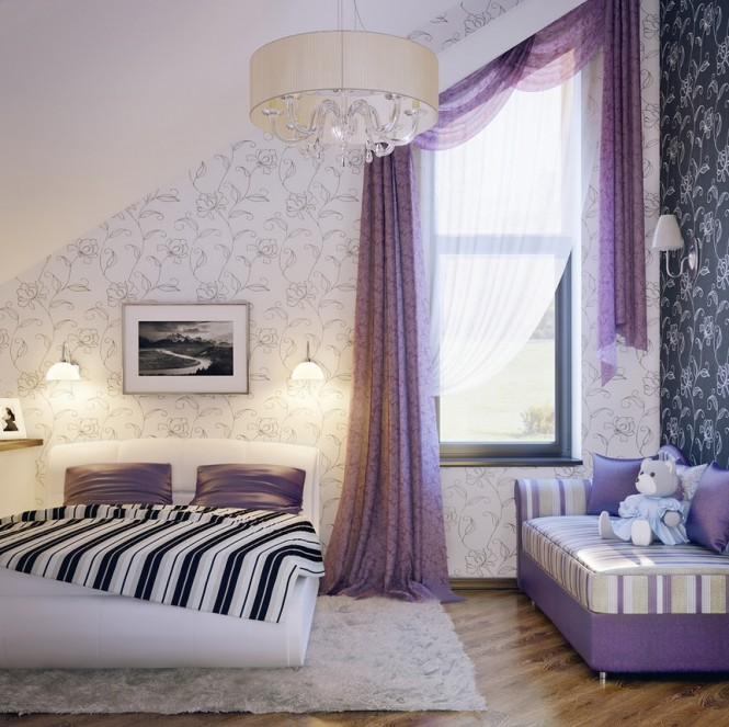 Via Eugene Zhdanov Lumier A soft lilac and white scheme is given an edge with a black accent wall and striped bedcovers.