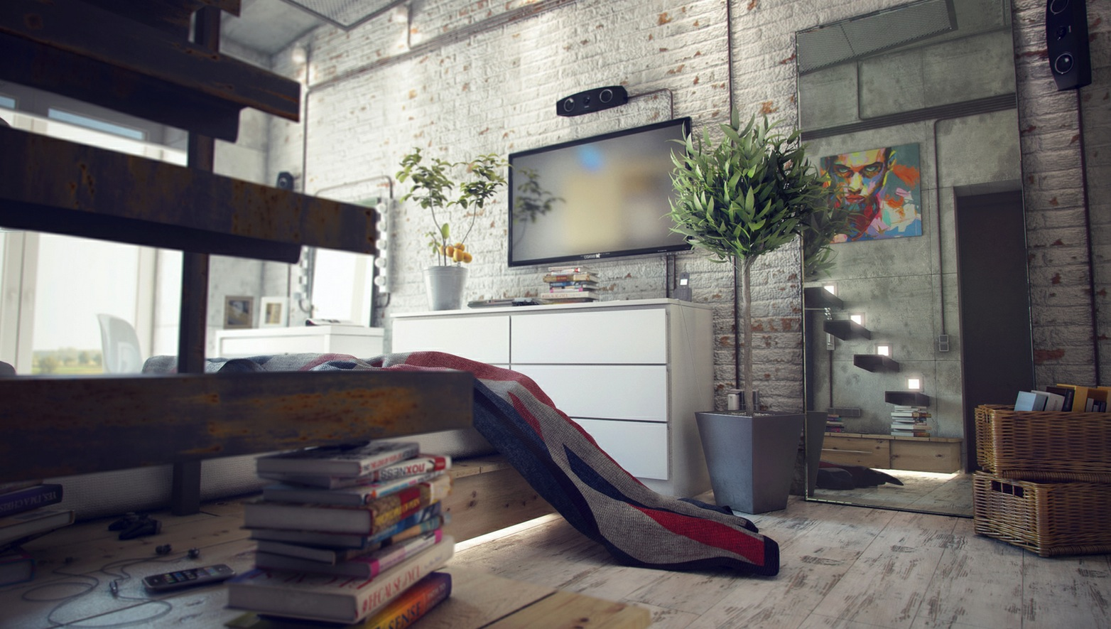 Casual loft style living - Industrial design home ...