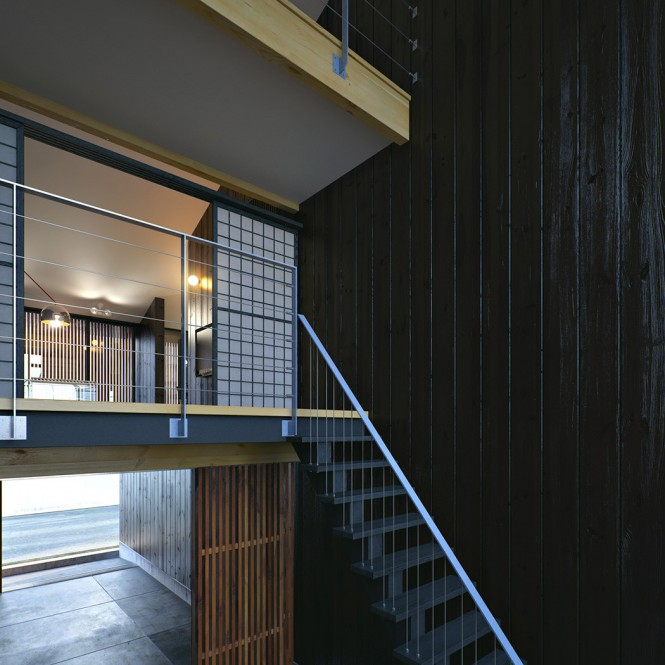 Metal staircase Japanese paper screens