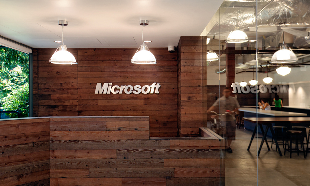 Microsoft reception desk interior design ideas for Office area design