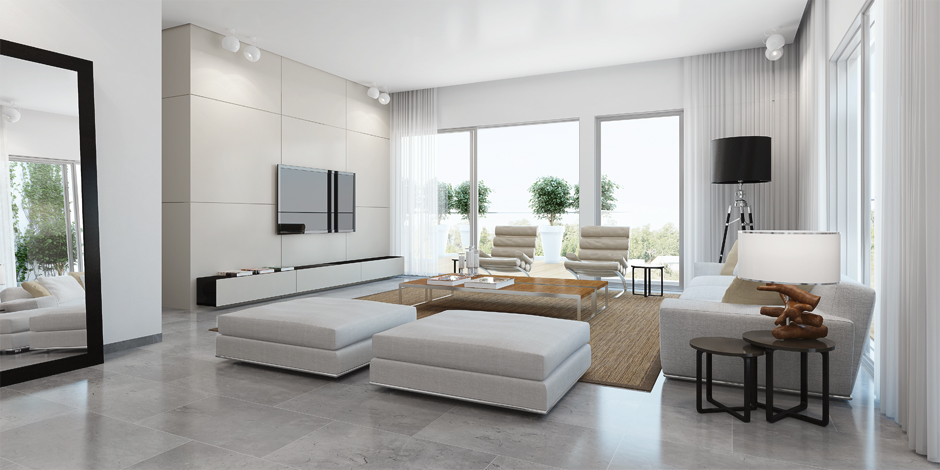 Modern white living room  Interior Design Ideas.