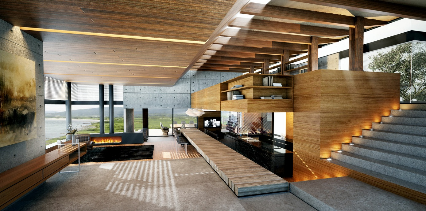 Living Rooms With Great Views : Modern wood and concrete interior from www.home-designing.com size 1388 x 690 jpeg 365kB