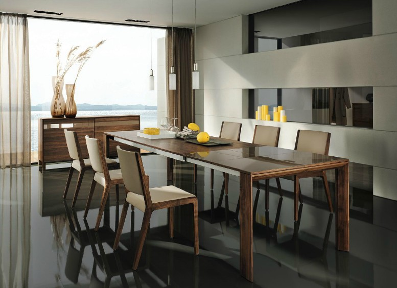 Wooden furniture in a contemporary setting for Designer dining room suites