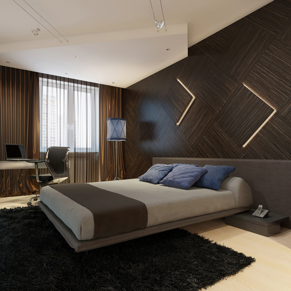 Contemporary Bedroom Lighting Bedroom Interior For Couples Black And White Tiles In Bedroom Bedroom Furniture Black: Modern Wooden Wall Paneling