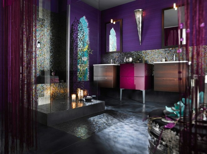 Via DelphaA rich Moroccan approach is decadent and passionate in a stunning purple palette, and twinkling mosaic tiles.
